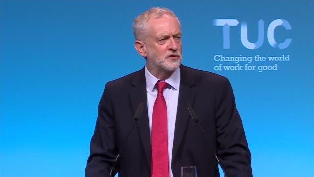 Jeremy Corbyn speech at TUC Conference ENGLAND West Sussex Brighton INT Jeremy Corbyn MP arriving on stage Jeremy Corbyn MP speech SOT