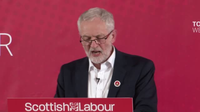 """jeremy corbyn speech in dunfermline fife where he ruled out any election deals with the snp and criticised their """"obsession with independence"""" - dunfermline stock videos & royalty-free footage"""
