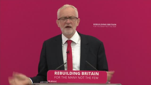 Jeremy Corbyn speech on 'Rebuilding Britain' in Corby ENGLAND Northamptonshire Corby INT Jeremy Corbyn MP speech SOT