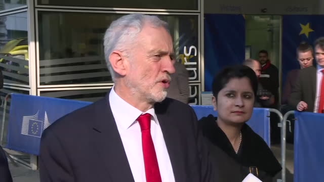 jeremy corbyn talking about the dangers of a nodeal brexit on a visit to brussels - jeremy corbyn stock videos and b-roll footage