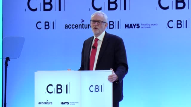 jeremy corbyn tells the cbi business conference that it is nonsense that he is antibusiness the labour leader was speaking at the cbi annual... - intercontinental hotels group stock videos & royalty-free footage