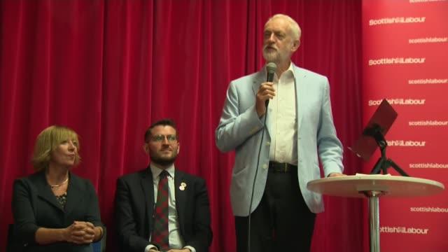 glasgow photography** jeremy corbyn mp speech sot / jeremy corbyn's wife laura alvarez in the audience - jeremy corbyn stock videos & royalty-free footage