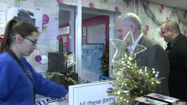jeremy corbyn visits sandale community hub in bradford england west yorkshire bradford int jeremy corbyn mp arriving at charity shop and speaking to... - sandale stock videos and b-roll footage