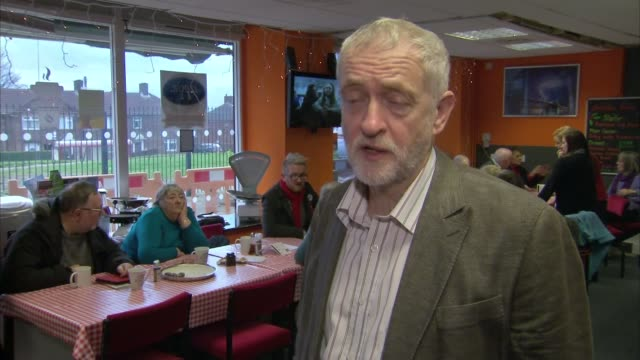 jeremy corbyn visits sandale community hub in bradford int jeremy corbyn interview sot - sandale stock videos and b-roll footage