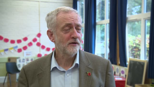 jeremy corbyn visits school on remembrance day jeremy corbyn mp interview sot / closeup jeremy corbyn's poppy badge - remembrance day stock videos and b-roll footage