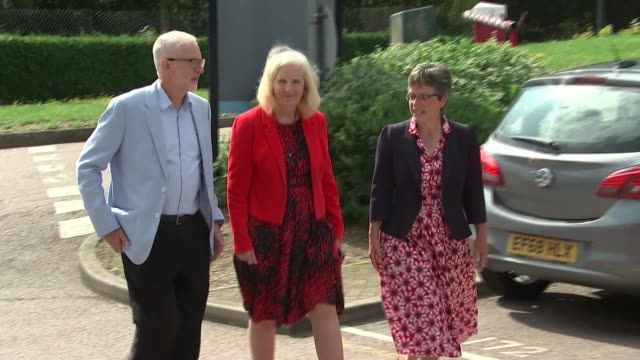 hertfordshire stevenage business and technology centre ext jeremy corbyn mp arrival at btc / meeting staff / along into building - stevenage stock videos and b-roll footage