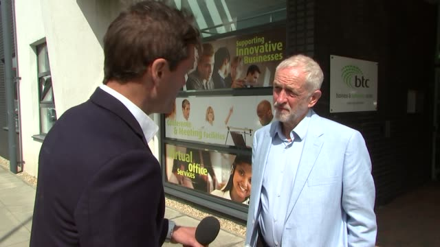 hertfordshire stevenage business and technology centre jeremy corbyn mp interview sot - stevenage stock videos and b-roll footage