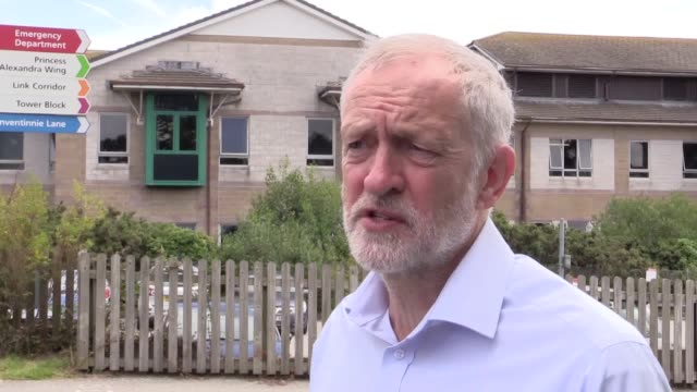 jeremy corbyn visits the royal cornwall hospital he discusses the current state of the nhs the need for resources for the london fire brigade his... - brigade stock videos & royalty-free footage