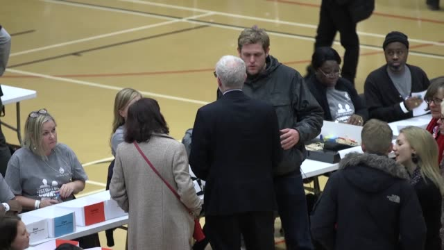 jeremy corbyn walks around sobell leisure centre and speaks to ballot box volunteers labour head of communications seamus milne paces while speaking... - seumas milne stock videos & royalty-free footage