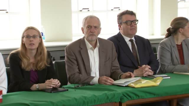 jeremy corbyn's new shadow cabinet press conference england london int jeremy corbyn mp in shadow cabinet meeting after reshuffle sat between tom... - seumas milne stock videos & royalty-free footage