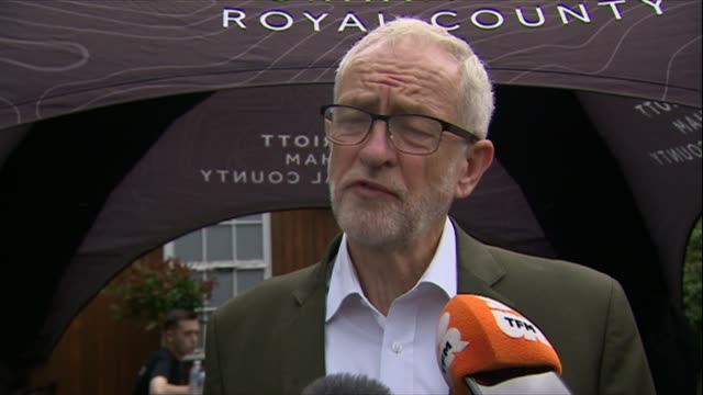 jeremy crobyn interview as attending durham miners' gala england durham ext jeremy corbyn mp speaking to reporters sot re kim darroch affair brexit... - miner stock videos & royalty-free footage