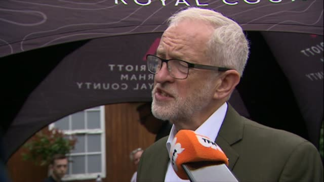jeremy crobyn interview as attending durham miners' gala; england: durham: ext jeremy corbyn mp speaking to reporters sot - re kim darroch affair -... - 反ユダヤ主義点の映像素材/bロール