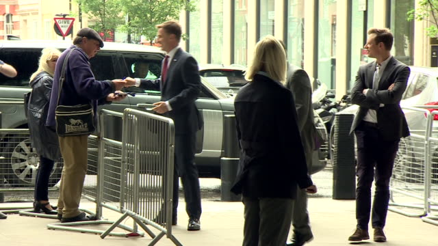 jeremy hunt arriving at bbc broadcasting house for an interview with andrew marr - leadership stock videos & royalty-free footage