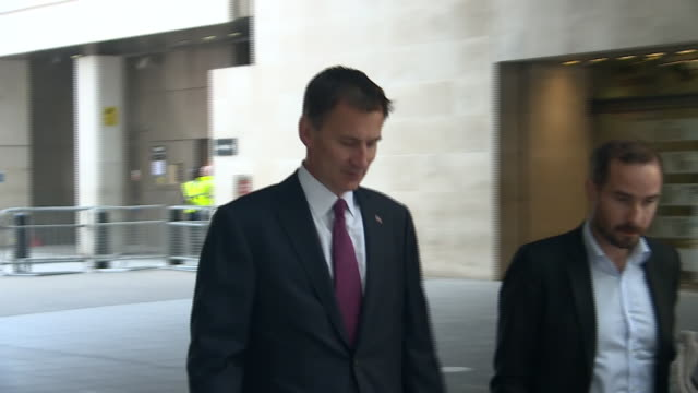 jeremy hunt arriving at bbc broadcasting house - leadership stock videos & royalty-free footage