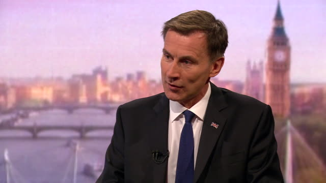 stockvideo's en b-roll-footage met jeremy hunt explaining what his deadline would be for delivering brexit - andrew marr