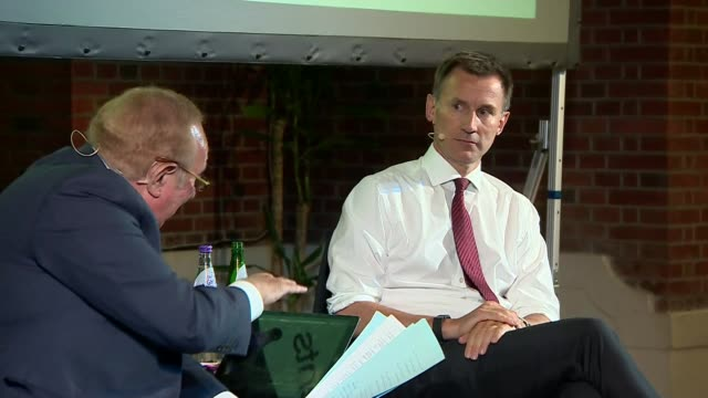 jeremy hunt in conversation with andrew neil uk london westminster jeremy hunt interview with andrew neil part 3 london westminster int jeremy hunt... - andrew neil stock videos and b-roll footage
