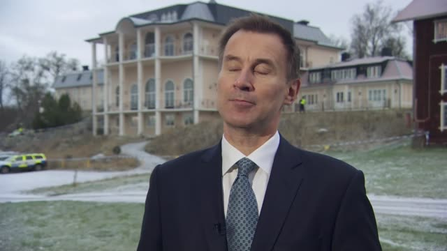 Stockholm EXT Jeremy Hunt MP interview SOT re Yemen