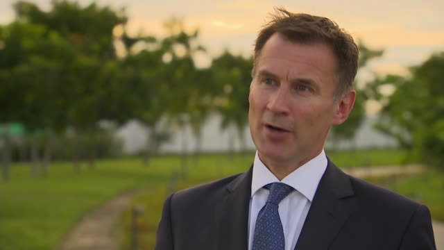 jeremy hunt meets aung san suu kyi and interview myanmar naypyidaw int jeremy hunt mp interview sot on brexit / not the government's policy to have... - referendum stock videos and b-roll footage