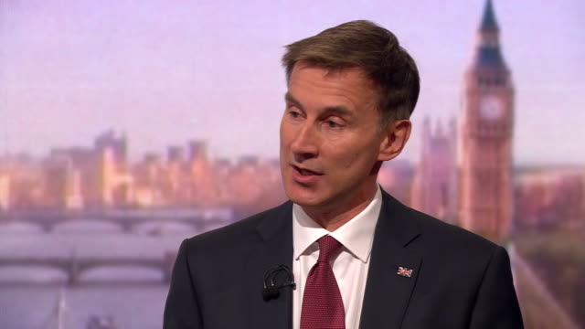 jeremy hunt putting forward his case for being the next prime minister and speaking about the flaws in boris johnson's candidacy - andrew marr stock videos & royalty-free footage