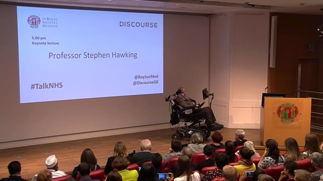 jeremy hunt responds to stephen hawking nhs comments england london royal society of medicine int professor stephen hawking along to stage and speech... - nhs stock videos & royalty-free footage