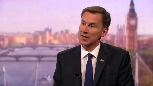 stockvideo's en b-roll-footage met jeremy hunt saying businesses who would be affected by a nodeal brexit would understand that you cannot ignore democracy - andrew marr