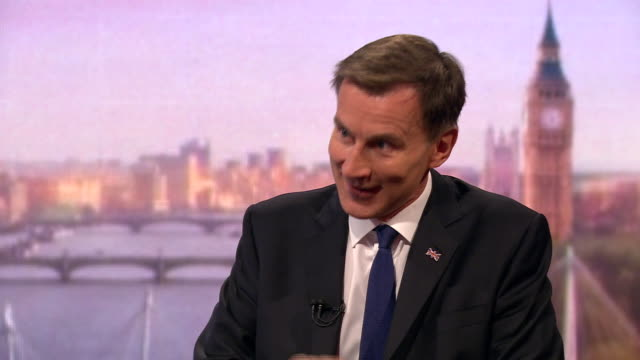 stockvideo's en b-roll-footage met jeremy hunt saying he believes he is the best person to renegotiate a brexit deal with the eu - andrew marr