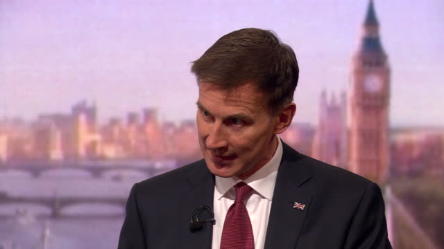 jeremy hunt saying he would be able to renegotiate a brexit withdrawal agreement with the eu if he were prime minister - andrew marr stock videos & royalty-free footage