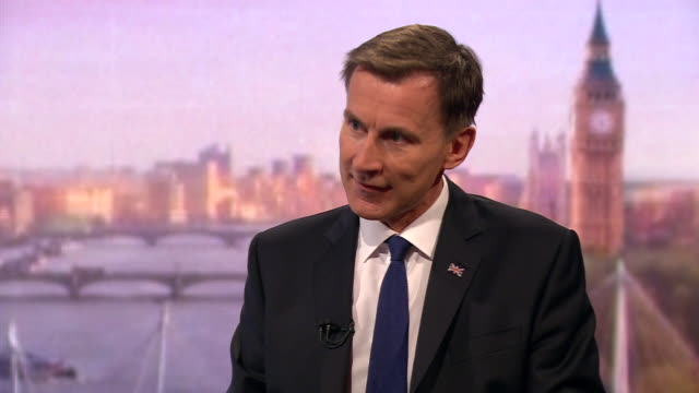 stockvideo's en b-roll-footage met jeremy hunt saying he would tell people they may lose their jobs in a nodeal brexit with a heavy heart - andrew marr