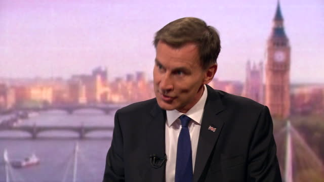 stockvideo's en b-roll-footage met jeremy hunt saying if the only way to deliver brexit was with a no deal he would go ahead but be sensitive to its unpopularity in scotland - andrew marr