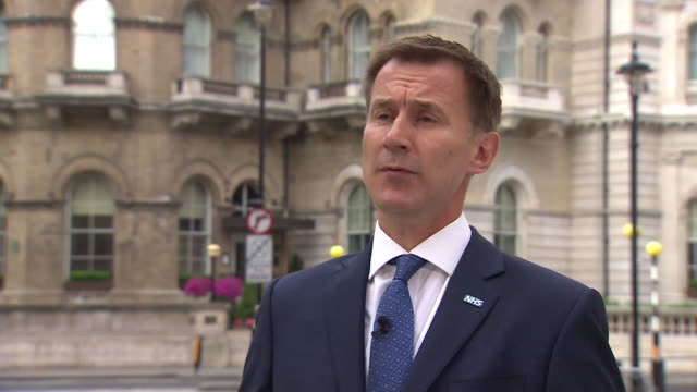 """jeremy hunt saying the government's proposed deal for brexit had to involve compromise to protect jobs and businesses but also """"preserve"""" what the... - david m. davis politician stock videos & royalty-free footage"""