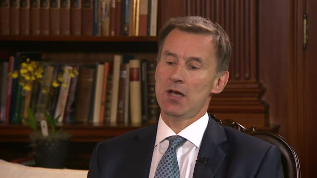 jeremy hunt saying the uk government is very worried about some of the things that have been happening in yemen and that britain will do everything... - 政治家 ジェレミー ハント点の映像素材/bロール