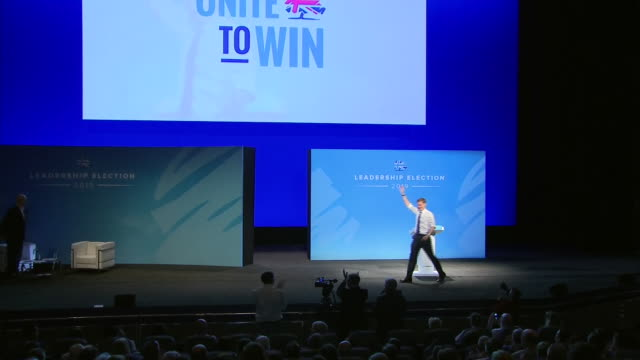 jeremy hunt taking to the stage at the conservative party leadership hustings in birmingham - audience stock videos & royalty-free footage