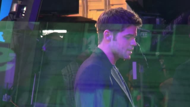 jeremy jordan on the set of the good morning america show in celebrity sightings in new york - good morning america stock videos and b-roll footage