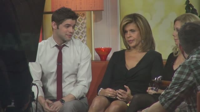 jeremy jordan talking with hoda kotb and kathy lee gifford on the set of the today show in rockefeller center in celebrity sightings in new york, - kathie lee gifford stock videos & royalty-free footage