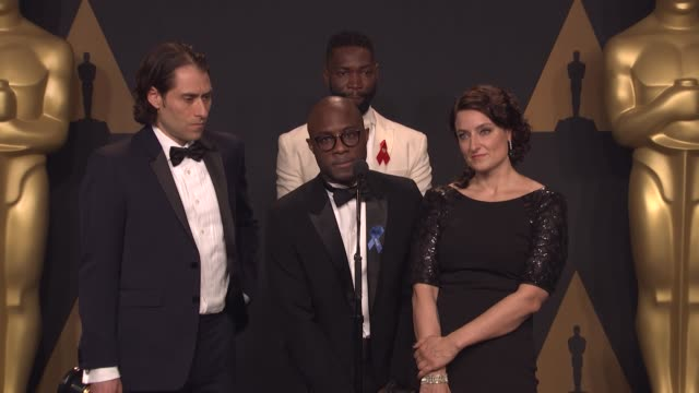 speech jeremy kleiner barry jenkins torell alvin mccraney adele romanski on how they felt when the 'best picture' result change was announced on what... - oscars stock videos & royalty-free footage