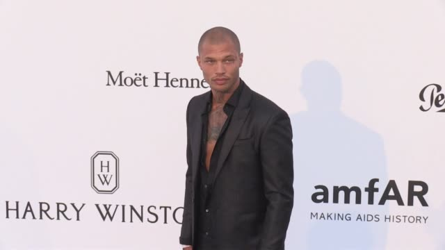 jeremy meeks at on the red carpet at the amfar gala during the cannes film festival 2017 thursday 25 may 2017 cannes france - jeremy meeks fashion model stock videos & royalty-free footage