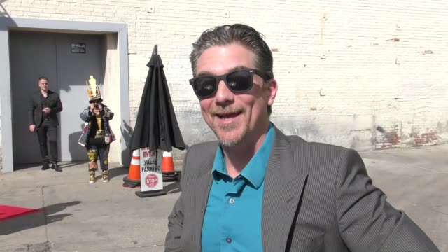 jeremy miller talks about growing pains reunion outside hollywood museum in hollywood in celebrity sightings in los angeles, - 産みの苦しみ点の映像素材/bロール