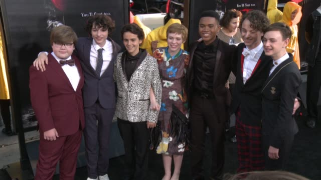 Jeremy Ray Taylor Finn Wolfhard Jack Dylan Grazer Sophia Lillis Chosen Jacobs Wyatt Oleff Jaeden Lieberher at It Premiere in Los Angeles CA