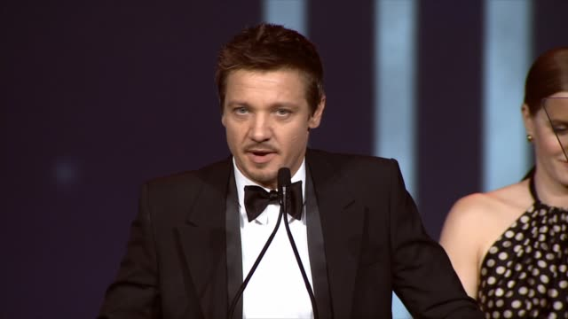 SPEECH Jeremy Renner accepting award at the 25th Annual Palm Springs International Film Festival Awards Gala Presented By Cartier in Palm Springs CA...