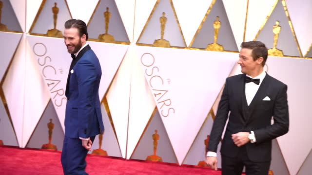 jeremy renner and chris evans at 89th annual academy awards - arrivals at hollywood & highland center on february 26, 2017 in hollywood, california.... - academy awards stock videos & royalty-free footage