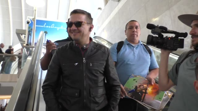 Jeremy Renner arriving at LAX Airport in Los Angeles in Celebrity Sightings in Los Angeles