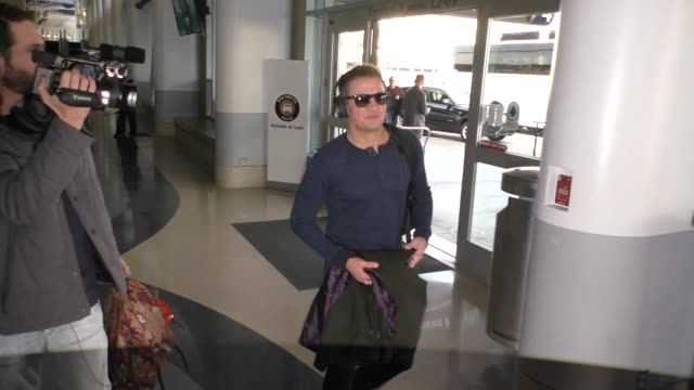 Jeremy Renner departing at LAX Airport in Los Angeles in Celebrity Sightings in Los Angeles