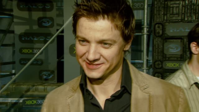 Jeremy Renner on the event playing Halo at the XBOX 360® HALO 3 Sneak Preview at Quixote Studios West in Hollywood California on May 15 2007