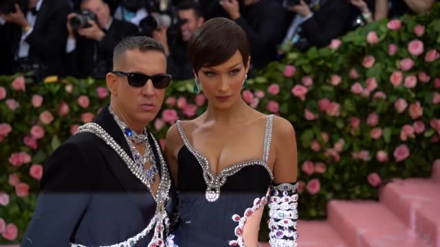jeremy scott and bella hadid at the 2019 met gala celebrating camp notes on fashion arrivals at metropolitan museum of art on may 06 2019 in new york... - bella hadid stock videos & royalty-free footage