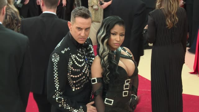 jeremy scott nicki minaj at manus x machina fashion in an age of technology costume institute benefit gala arrivals at metropolitan museum of art at... - manus x machina: fashion in an age of technology stock videos and b-roll footage