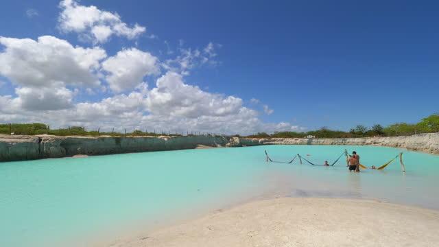 jericoacoara paradise, blue hole, fortaleza, ceara, brazil - azul stock videos & royalty-free footage