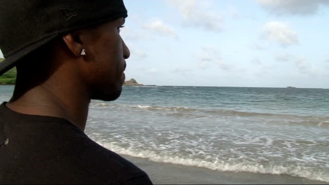 part one st jermain defoe looking out at sea palm trees and water washing onto beach ends - st lucia stock videos & royalty-free footage