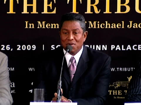 jermaine jackson on who in the jackson will be performing at the event at the michael jackson tribute concert press conference at london england - tribute event stock videos & royalty-free footage