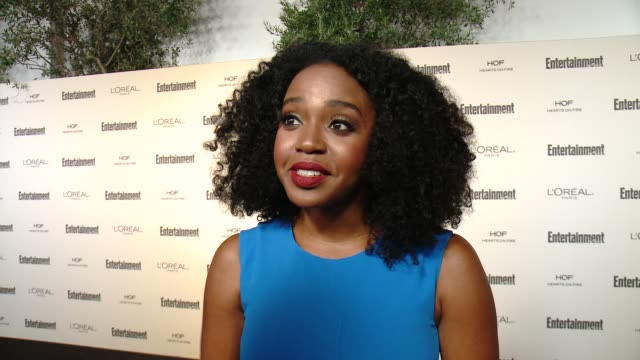 interview jerrika hinton on favorite television moments from this past season and on what entertainment weekly means to them at entertainment... - entertainment weekly stock videos & royalty-free footage