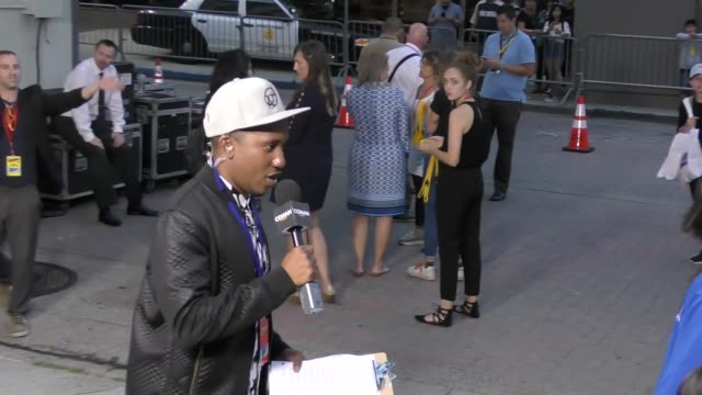 jerrod carmichael outside conan o'brien's comic con special at spreckels theatre in san diego in celebrity sightings in san diego - conan o'brien stock videos and b-roll footage